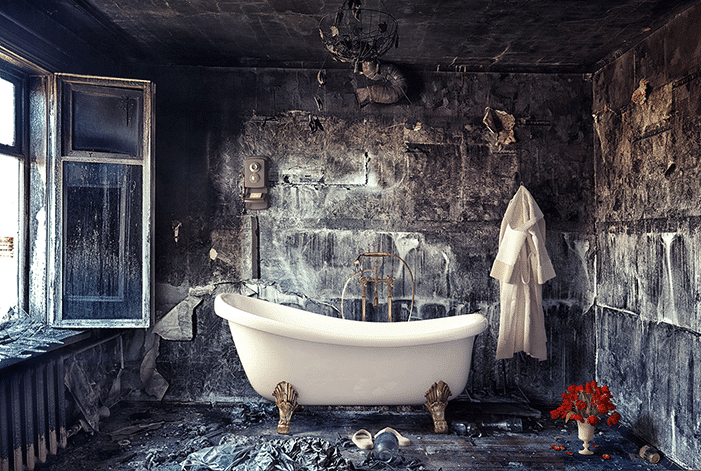 clawfoot bathtub in rubble
